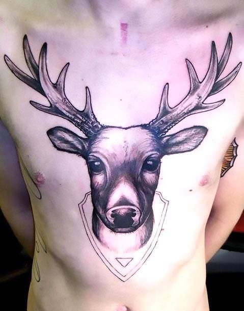 Cute Deer Head Tattoo Idea