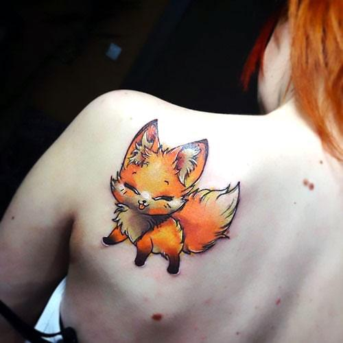 Cute Fox on Shoulder Tattoo Idea