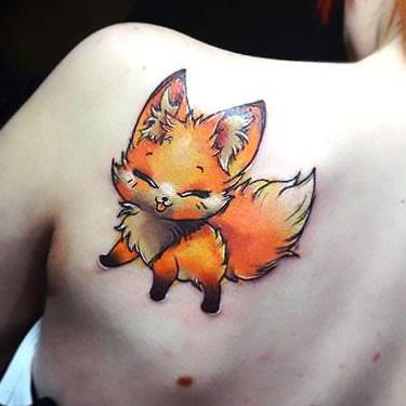 Cute Fox on Shoulder Tattoo