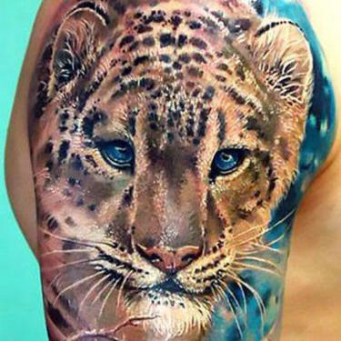 Cute Leopard Face Tattoo