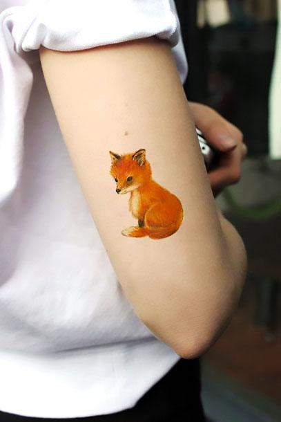 Cute Little Fox Tattoo Idea