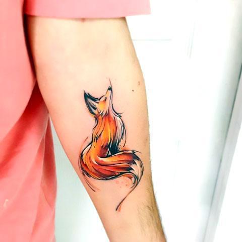 Cute Watercolor Fox Tattoo Idea