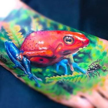 Dart Tree Frog on Foot Tattoo
