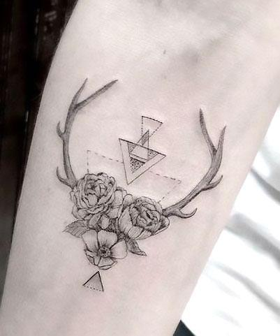 Deer Antler Flowers Tattoo Idea