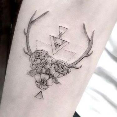Deer Antler Flowers Tattoo