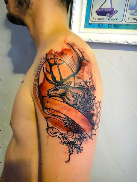 Deer for Men Tattoo Idea