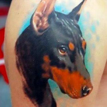 Doberman Dog Portrait Tattoo