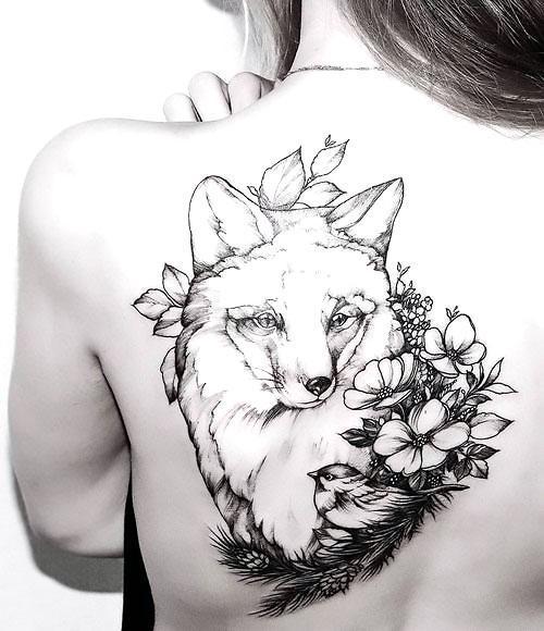 Fox Head With Bird and Flowers Tattoo Idea