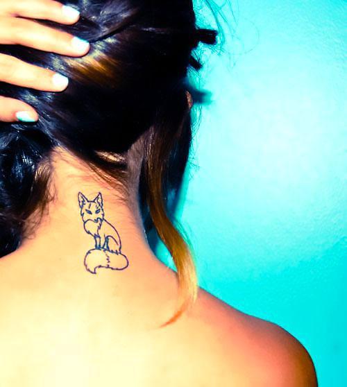 Fox on Neck Tattoo Idea