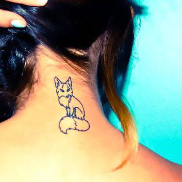 Fox on Neck Tattoo
