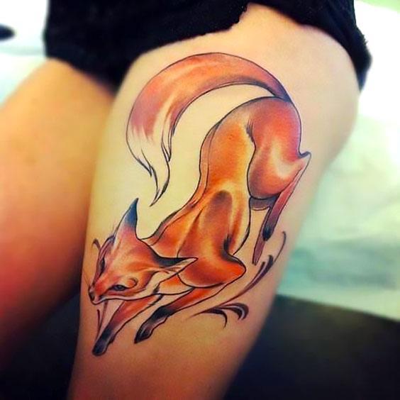Fox on Thigh Tattoo Idea