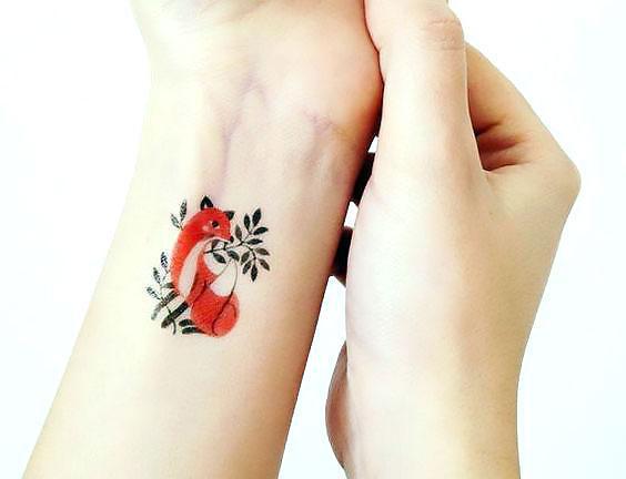 Fox on Wrist Tattoo Idea