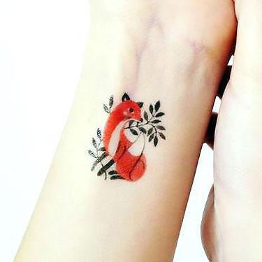Fox on Wrist Tattoo