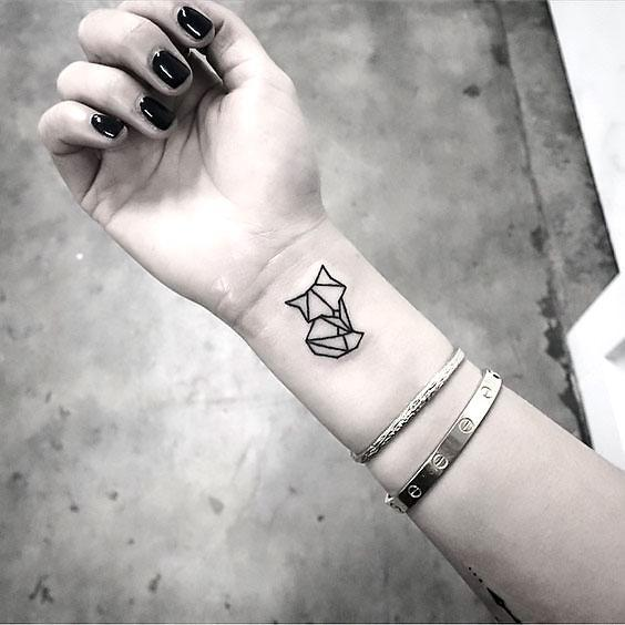 Geometric Fox on Wrist Tattoo Idea