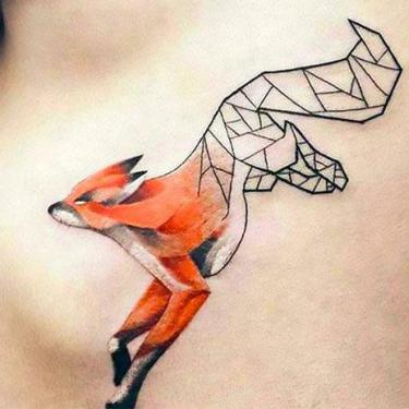 Half Geomeiric Fox Tattoo