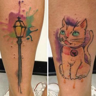 Cat and Lantern Tattoo