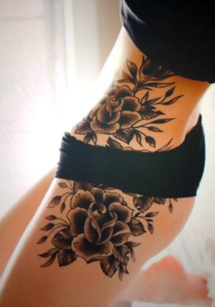Cool Flowers on Hip Tattoo Idea