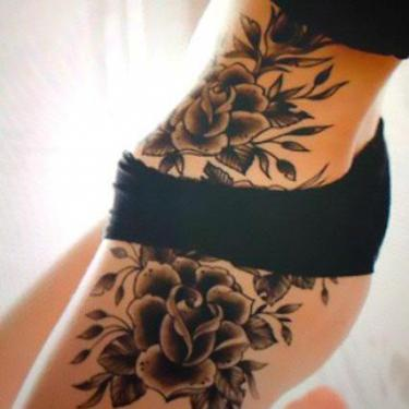 Cool Flowers on Hip Tattoo