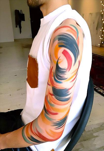 Abstract Lines On Arm Tattoo Idea