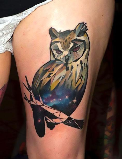 Cool Geometric Owl Tattoo Idea