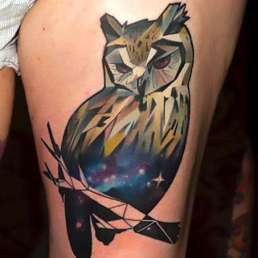 Cool Geometric Owl Tattoo