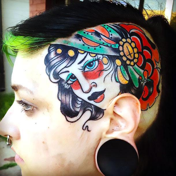 Cool Gypsy Head Tattoo Idea