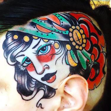 Cool Gypsy Head Tattoo
