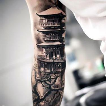 Cool House on Arm Tattoo