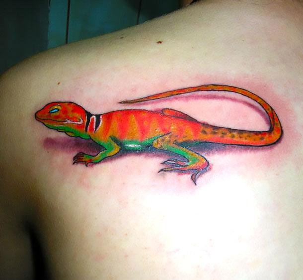 Cool Orange Lizard Tattoo Idea