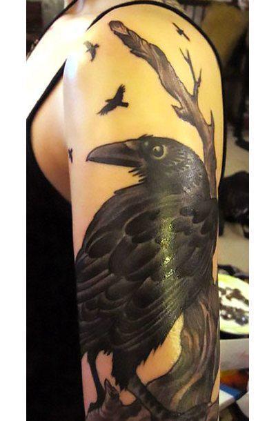 Cool Raven on Arm Tattoo Idea