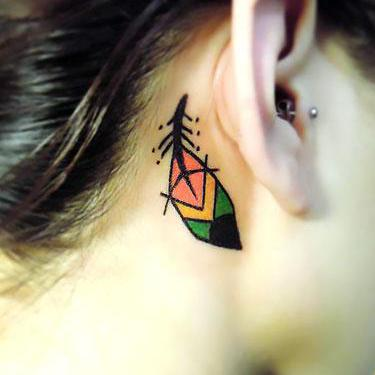Cool Small Feather Tattoo