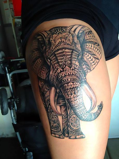 Cool Thigh Elephant Tattoo Idea