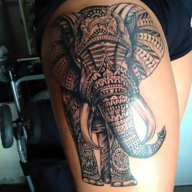 Cool Thigh Elephant Tattoo