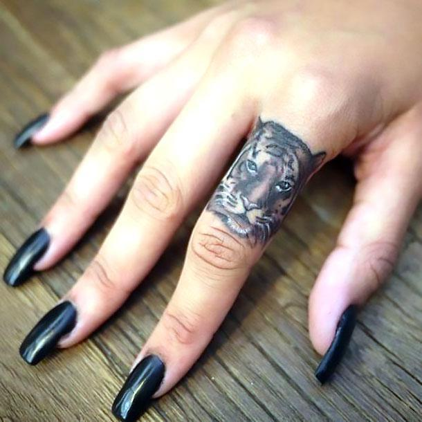 Cool Tiger on Finger Tattoo Idea