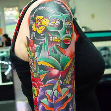 Cool Traditional Half Sleeve Tattoo