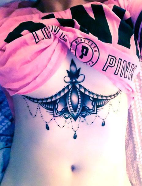 Cool Under Breast Tattoo Idea