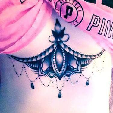 Cool Under Breast Tattoo