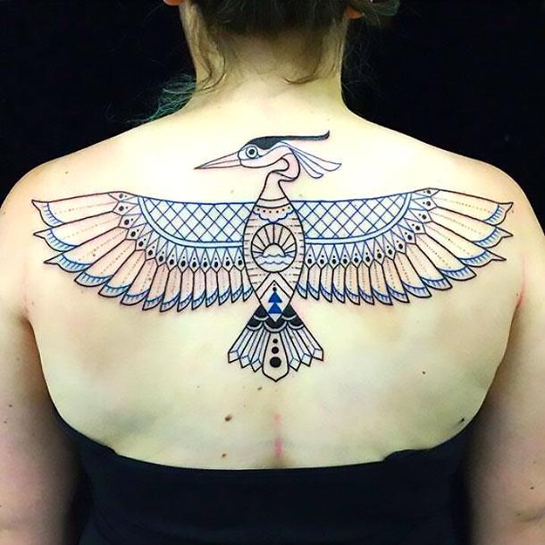 Cool Upper Back Bird Tattoo Idea