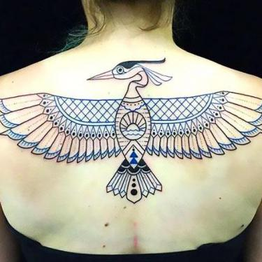 Cool Upper Back Bird Tattoo
