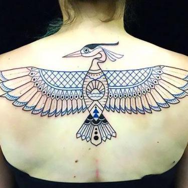Cool Upper Back Bird Tattoo