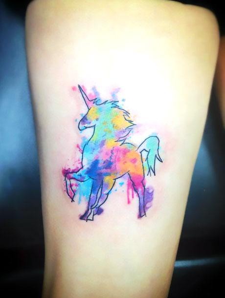 Cool Watercolor Unicorn Tattoo Idea