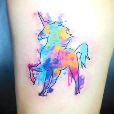 Cool Watercolor Unicorn Tattoo