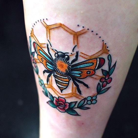 Honey Bee Tattoo Idea