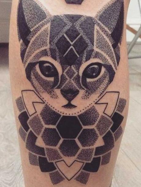 Dotwork Cat Tattoo Idea
