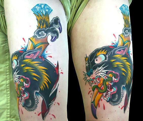 Japanese Panther Head Tattoo Idea