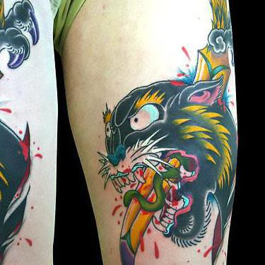 Japanese Panther Head Tattoo