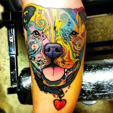 Pitbull Face Tattoo
