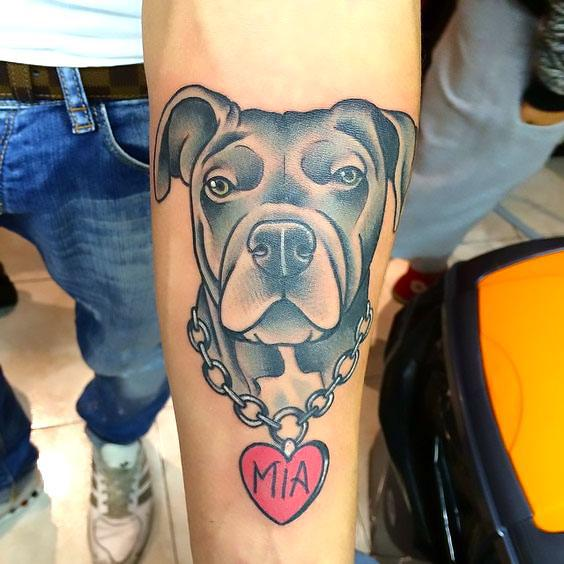 Pitbull Face Memorial Tattoo Idea