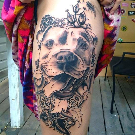 Pitbull Flower Tattoo Idea