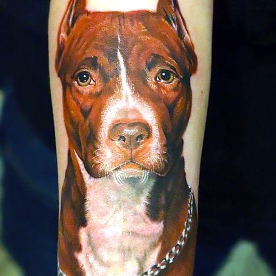 Pitbull Head Tattoo Idea